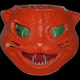 Vintage Halloween Orange Cat JOL Lantern with Paper Face Insert 1940's