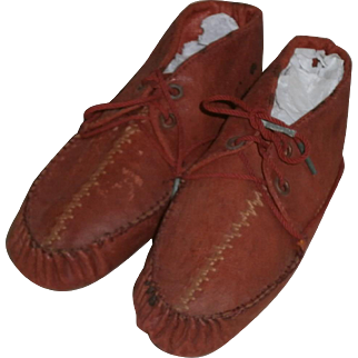 Pair of Primitive Child's Baby Red Shoes