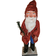Large German Santa Claus Figure with Candy Container Pack on his back