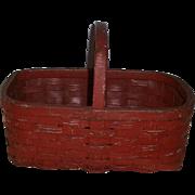 AAFA Primitive Splint Wood Gathering Basket in Old Red Paint