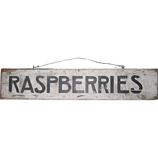 AAFA Primitive Wood Advertising RASPBERRIES Trade Sign in Black and White Paint