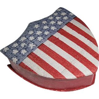 Vintage Patriotic Red White Blue Shield Candy Container for 4th of July