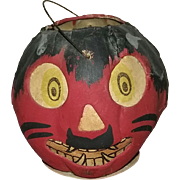 Vintage German Halloween Red Devil JOL Pumpkin Lantern with Paper Face Insert