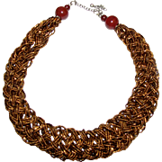 Plaited Bronze Glass Micro Bead Necklace