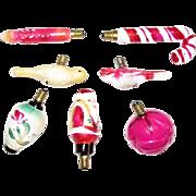 7 Vintage Glass Christmas Tree Bulbs, Figural Art Decorated