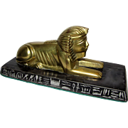 Cast Brass Sphinx on Black Marble Base Sculpture/Paperweight