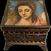 Ormalu Filigree Trinket Box w/ El Greco Madonna Lid