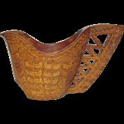 Scandinavian Hand Carved Drinking Cup, Folk Art, Hard Wood, Wedding, Ceremonial, Ornate Wooden Décor, Kuksa, Mint