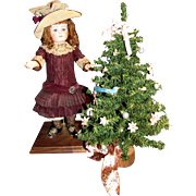 "Miniature 17"" Christmas Tree w/ Feather Bird & Ribbons!"