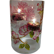 Hand Painted Glass Hurricane Tealight Holder