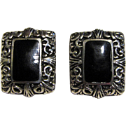 Stylish Mexican Sterling & Onyx Pierced Earrings