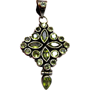 "Large Sterling & Peridot 2 1/4"" Pendant"