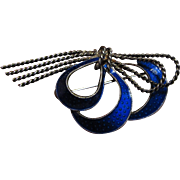 "Art Deco Sterling & Cobalt Enamel 2 1/2"" Bow Pin"