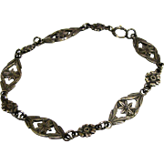 Edwardian Sterling Filigree Link Bracelet