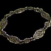 Edwardian Sterling Filigree Link Bracelet