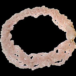 Estate 6 Strand Rose Quartz Necklace