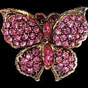 Signed Weiss Pink Rhinestone Butterfly Brooch