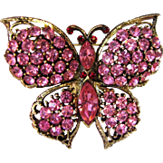 Signed Weiss Pink Rhinestone Butterfly Brooch