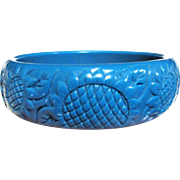 Stylish Turquoise Sunflower Design Hard Plastic Bangle
