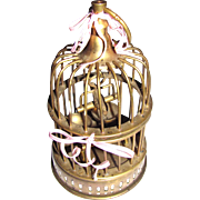 "Ornate 8"" Solid Brass Bird Cage w/ Little Bird"