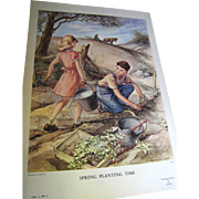 Great 1950's Sunday School Instructional Print - Spring Planting Time