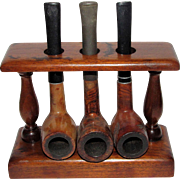 Vintage Estate 3 Tobacco Smoking Pipe Oak Rack / Stand / Holder