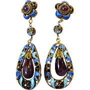 Chinese Export Enamel on Gilt Silver Amethyst Dangle Pierced Earrings