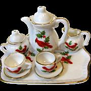 Lefton Christmas Miniature Tea Set w/ Cardinal Birds, Holly
