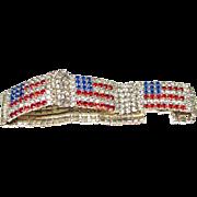 Vintage Patriotic American Flag Swarovski Crystal Tennis Bracelet