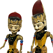 Large Pair of Indonesian Puppet Dolls, Hand Carved Heads