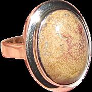Modernist Sterling Silver & Jasper Ring, Size 8, Pristine