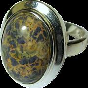 Modernist Sterling Silver & Figured Jasper Ring, Size 8, Pristine