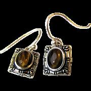 Pretty Sterling & Tigers Eye Earrings
