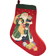 Traditional Wool Needle & Petite Point Christmas Stocking