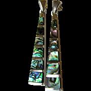 Stunning Modernist Sterling Silver & Abalone Earrings