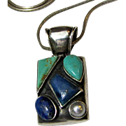 "Stylish Sterling, Lapis & Pearl Pendant on 16"" Chain"