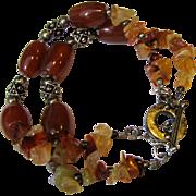 Sterling & Carnelian 2 Strand Bracelet