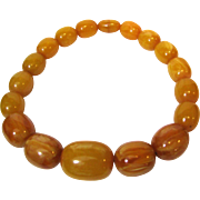 "20"" Vintage Baltic Pressed Amber Necklace, MASSIVE Beads, 204 Grams!"