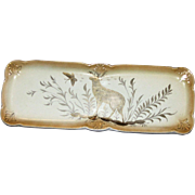 18th Century, Rare Desert / Sandwich Serving Dish Old Gold and Cream with Gray Meadow Stag and Butterfly Scene, Gilt