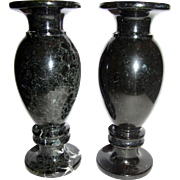 "Elegant Pair of 8"" Black Marble Mantle Vases"