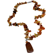 "16"" Tumbled Carnelian Chip Pendant Necklace"