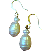 Cultured Freshwater Ribbed Pearl Earrings