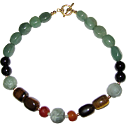 Hardstone Shou Bead, Serpentine, Agate, Faceted Carnelian & Tigers Eye Necklace