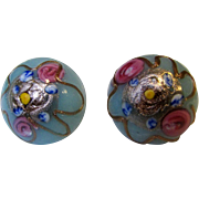 Vintage Italian Art Glass Wedding Cake Earrings w/ Post Fittings