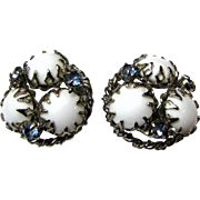 Milk Glass & Aqua Crystal Silvertone Clip Back Earrings