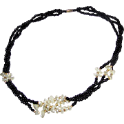 "20"" Black Glass & Faux Pearl Elegant Necklace"