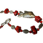 "19"" Fish Design Bamboo Coral & Silvertone Bead Necklace"
