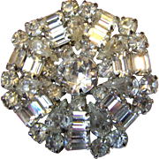 "Elegant 1960's Signed WEISS 1 3/4"" Crystal Rhinestone Pin, Glamorous!"