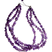 "Beautiful 19"" Sterling & Amethyst Nugget 3 Strand Necklace"