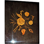 Swiss Reuge Wood Inlay Music Jewelry / Cigarette Box , Made In Italy, Inlaid Flowers